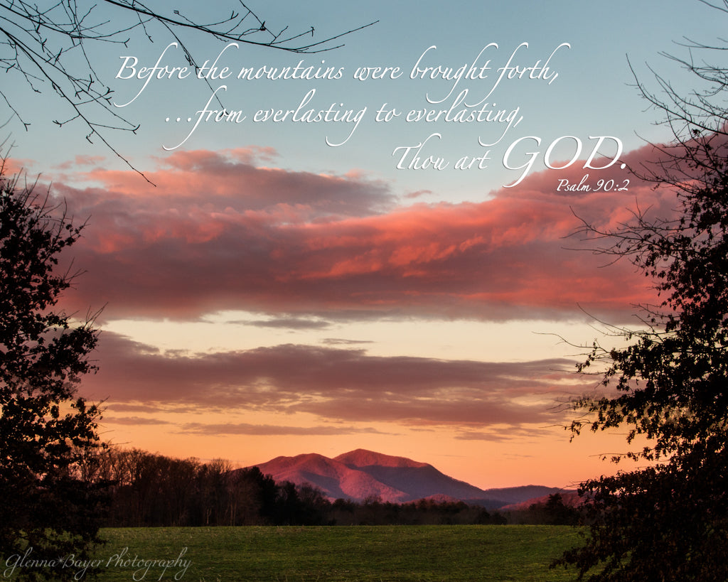 Pink sunrise and Cahas Mountain in Boones Mill, Virginia with scripture verse