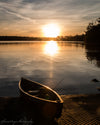 Canoe at Cowman Lake, Sunset, Yellow, Reflection