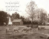 Carriage Hill Sheep, Bible Verse, Inspirational, Sepia, Barn
