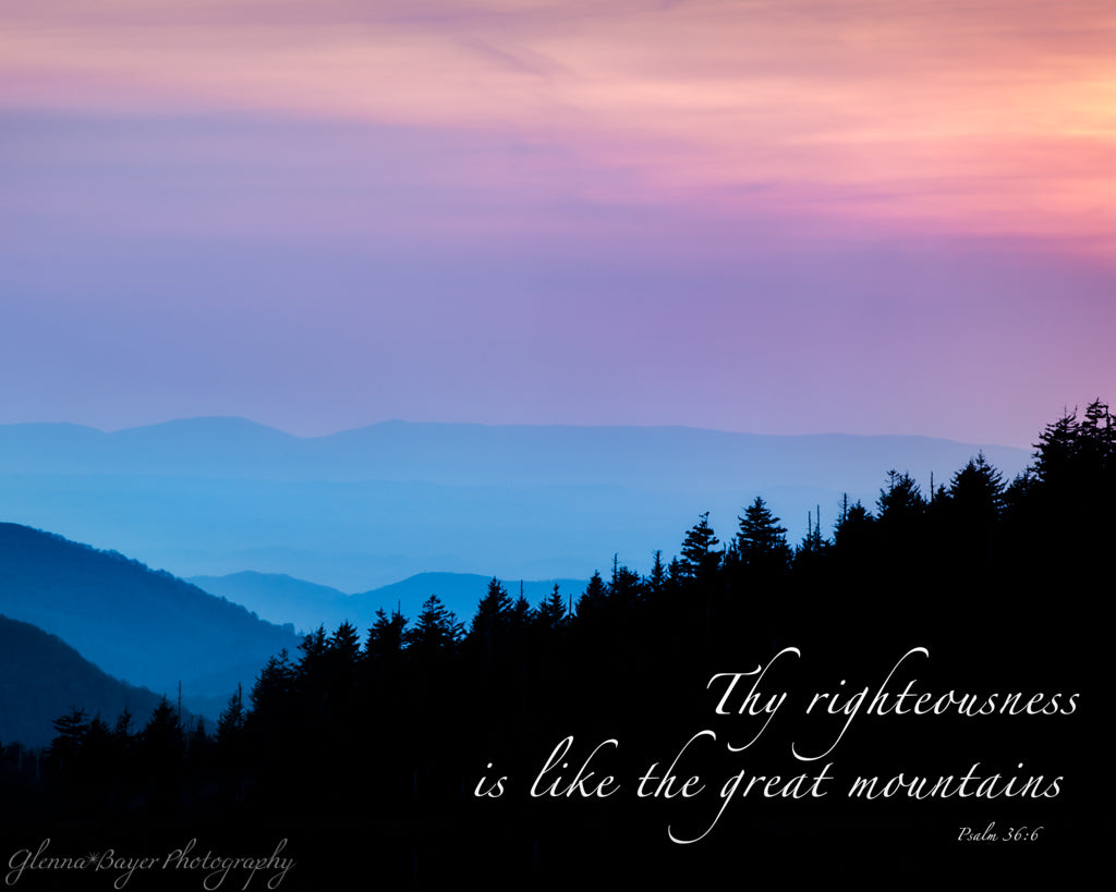 Pink and blue sunset at Clingman's Dome in the Great Smoky Mountains, Tennessee with scripture verse