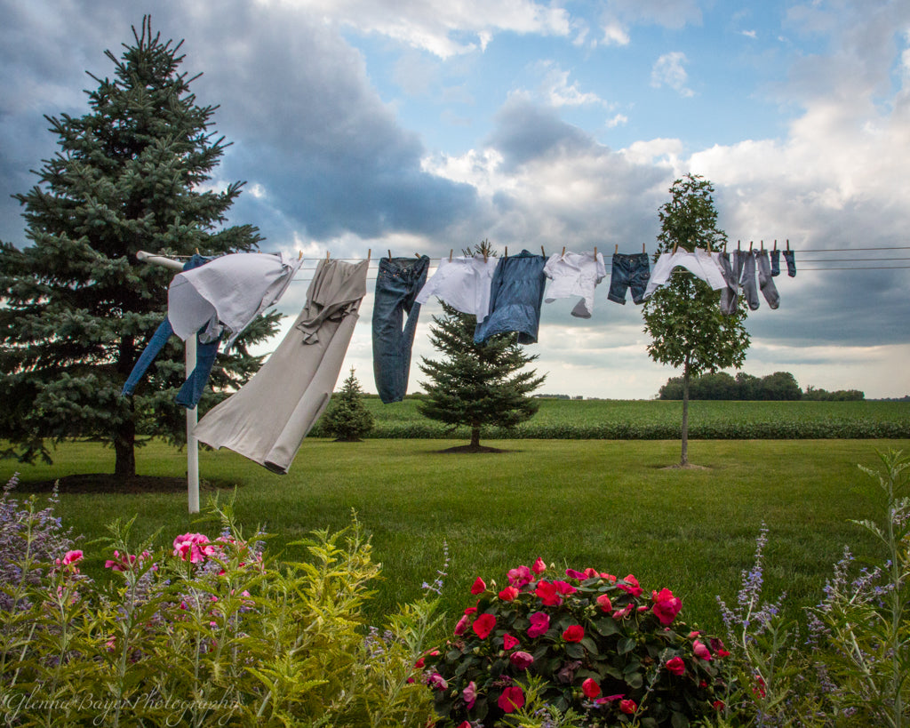 Dress, jeans, and shirts on Clothesline with spring flowers