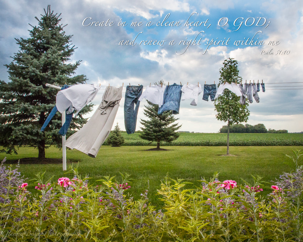 Dress, jeans, and shirts on Clothesline with spring flowers and scripture verse
