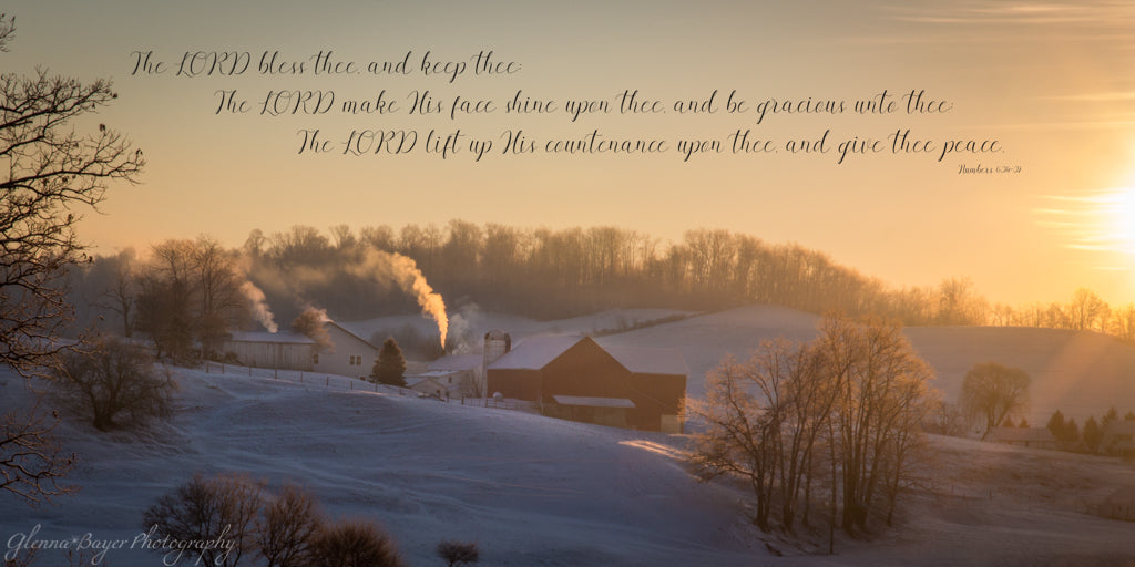 Farm in snowy valley during sunrise with scripture verse