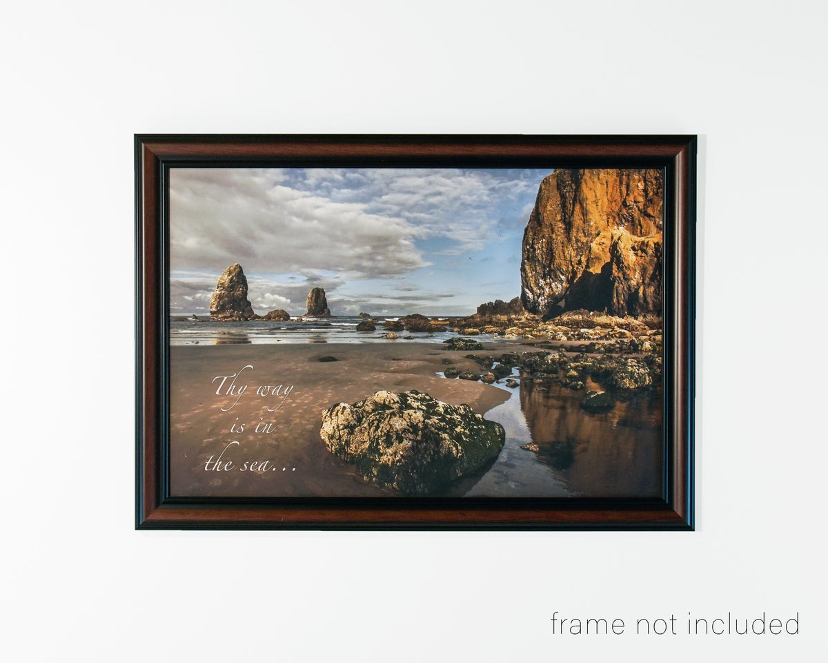 Framed print of Sunrise on beach at Haystack Rock, Oregon with scripture verse