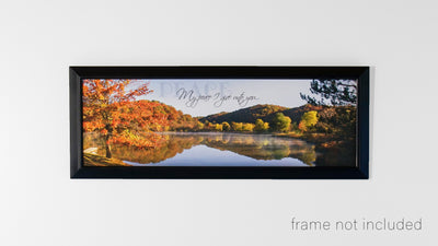 Framed print of Fall Landscape and Lake at Beech Fork State Park with scripture verse.
