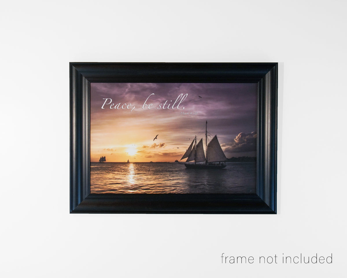 Framed print of Sailing boat at sunset in Key West, Florida with scripture verse