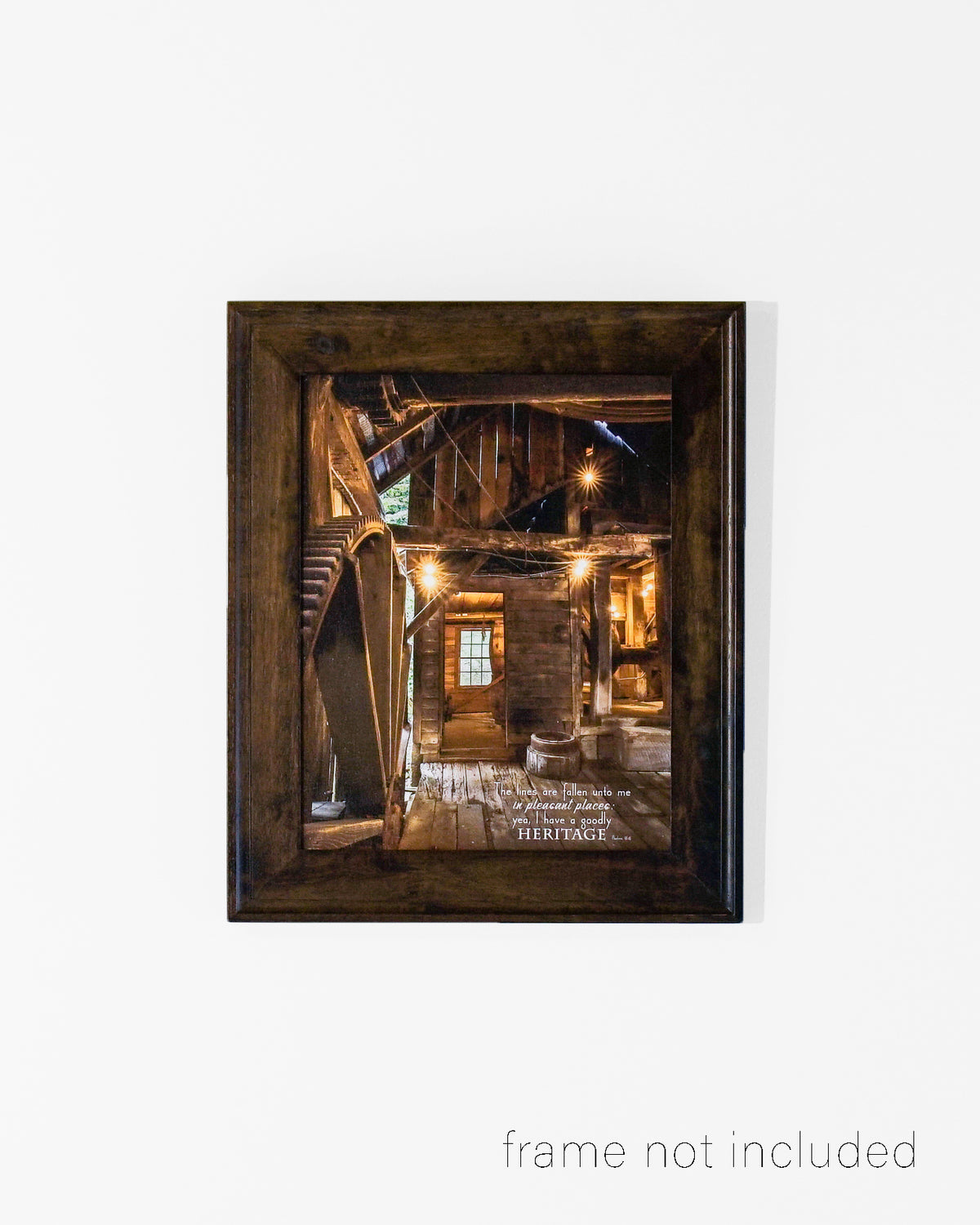 Framed print of Old wooden mill with scripture verse