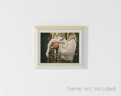 Framed print of Shepherd carrying little lamb with scripture verse