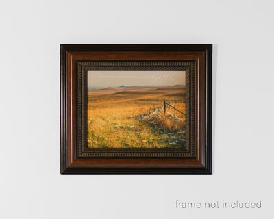 Framed print of Kansas Flint Hills rolling landscape with scripture verse