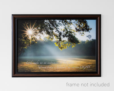 Framed print of Starburst through trees and sunbeam on field in early morning with scripture verse