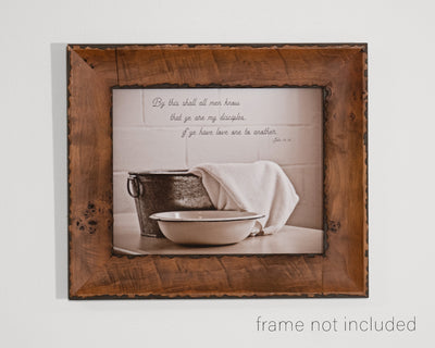 framed print of Metal Footwashing Tub with towel, bowl and scripture verse