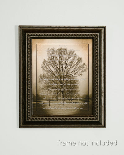 framed print of Sepia picture of tree with Psalm 23 over the image