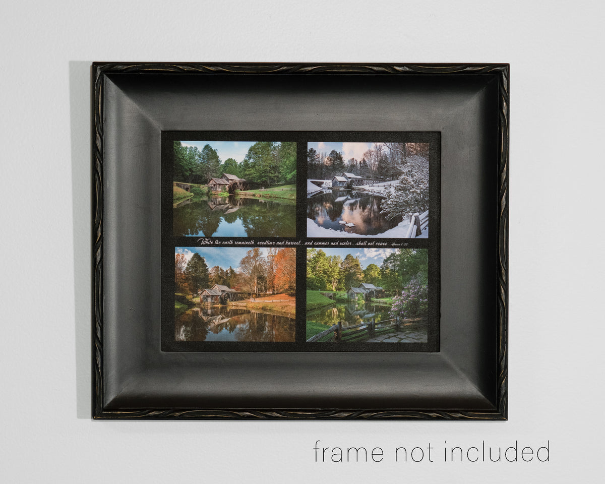 framed print of Four photo collage of Mabry Mill in four Seasons with scripture verse
