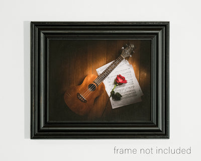 framed print of Ukelele, Music Sheet, and Rose Still Life