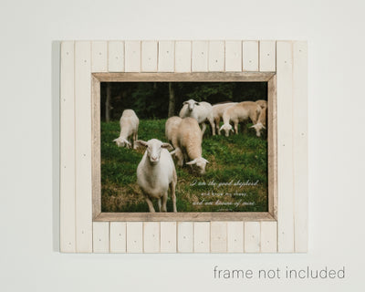 framed print of Flock of sheep in green pasture with scripture verse