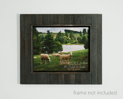 framed print of Flock of Sheep on Green Hill with Pond in background, and scripture verse