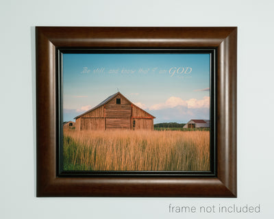 framed print of Old wooden barn and wheat field at evening in Kanas with scripture verse
