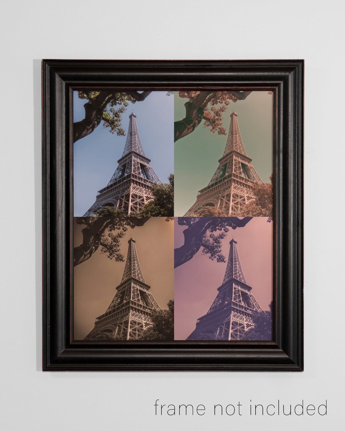 Framed print of A collage of the Eiffel Tower in four different colors