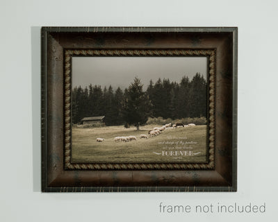 framed print of Flock of sheep in a rolling pasture with scripture verse
