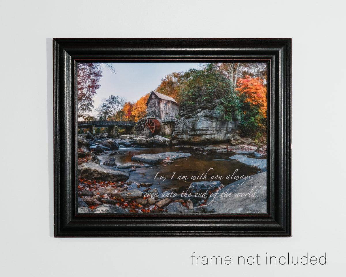 framed print of Glade Creek Mill in Autumn with scripture verse