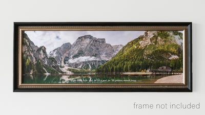 framed print of Panorama of canoes lined across Lake Braise in Dolomites, Italy with scripture verse
