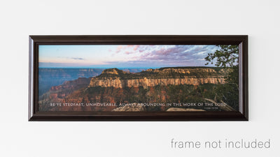 framed print of Pink and blue sunrise over the Grand Canyon panorama with scripture verse