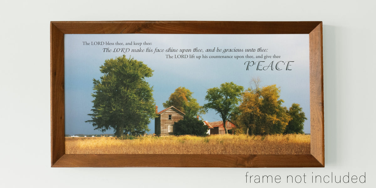 framed print of Old farm in fall with dark storm clouds in Darke County, Ohio with scripture verse
