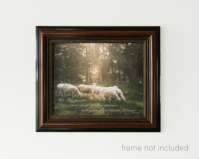 framed print of Flock of sheep in meadow with scripture verse