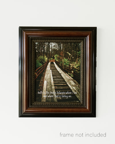 framed print of Old wooden bridge in autumn woods with scripture verse