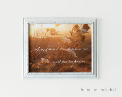 framed print of Autumn foliage in sunset glow with scripture verse