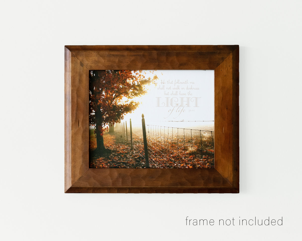 Framed print of Foggy autumn morning with tree and fence row and scripture verse