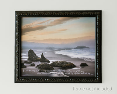 framed print of A blue, yellow sunrise at Bandon Beach in Oregon with scripture verse.