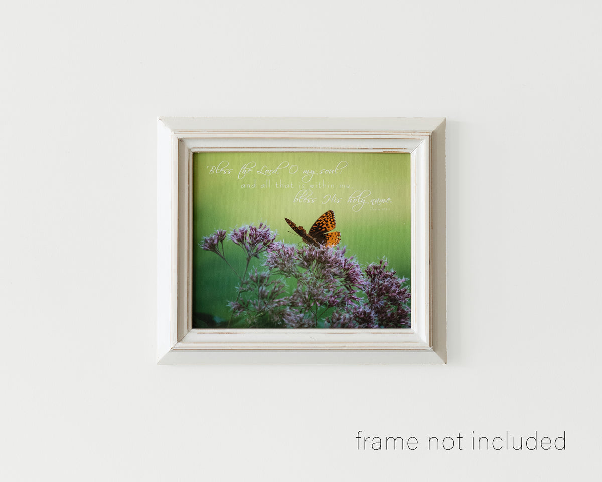 Framed print of Orange butterfly on Joe Pye Weed with scripture verse