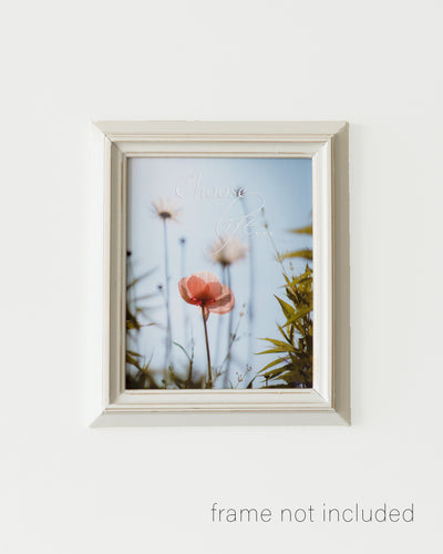 Framed print of Pink and white spring flowers with choose life quote