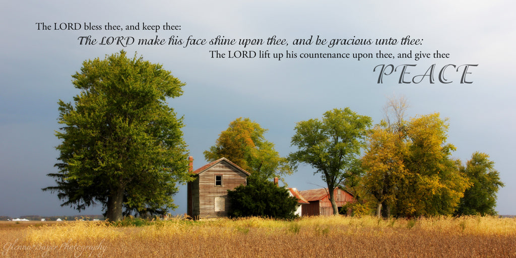 Old farm in fall with dark storm clouds in Darke County, Ohio with scripture verse
