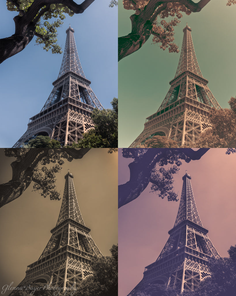 A collage of the Eiffel Tower in four different colors