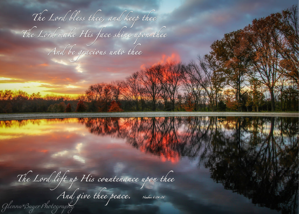Blue, pink, and yellow sunset reflection on Pond with scripture verse
