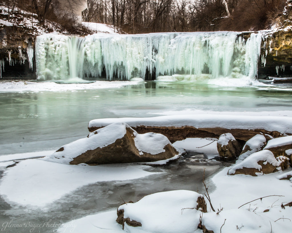 Frozen waterfalls in Ludlow Falls, Ohio