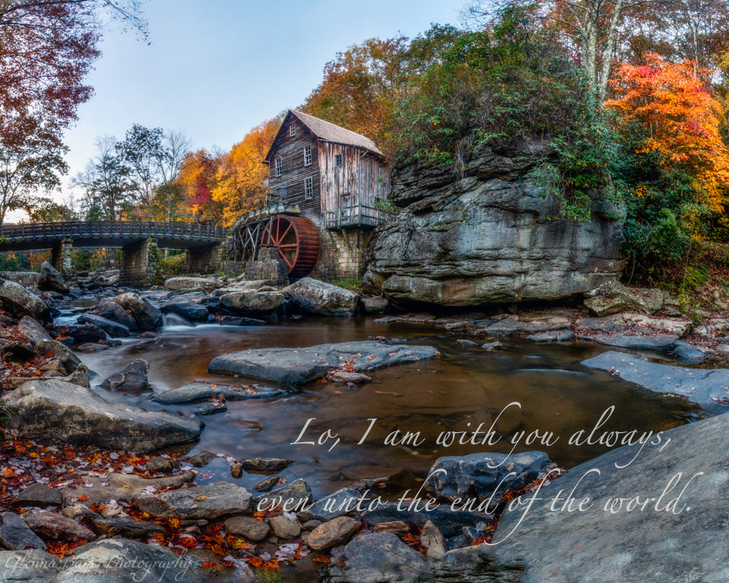 Glade Creek Mill in Autumn with scripture verse
