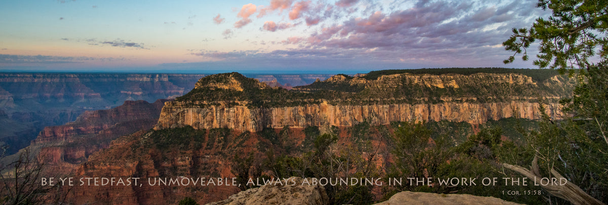 Pink and blue sunrise over the Grand Canyon panorama with scripture verse