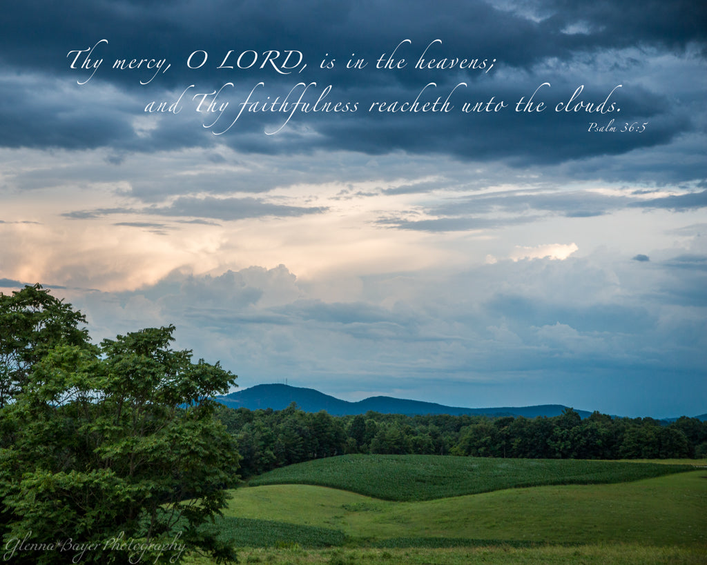 Grassy hills, dramatic clouds, and Cahas Mountain in Boones Mill, Virginia with scripture verse