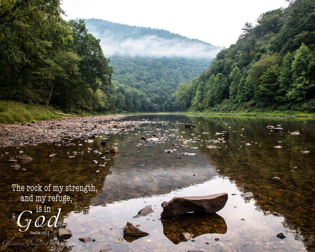 Rocky Greenbrier River reflection in West Virginia with scripture verse