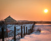 Greenlee Rd, Ohio, Barn and Snow, Sunset, Orange