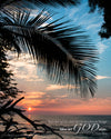 Hawaii Sunset, Ocean, Palm Branch, Pink, Blue, Bible Verse