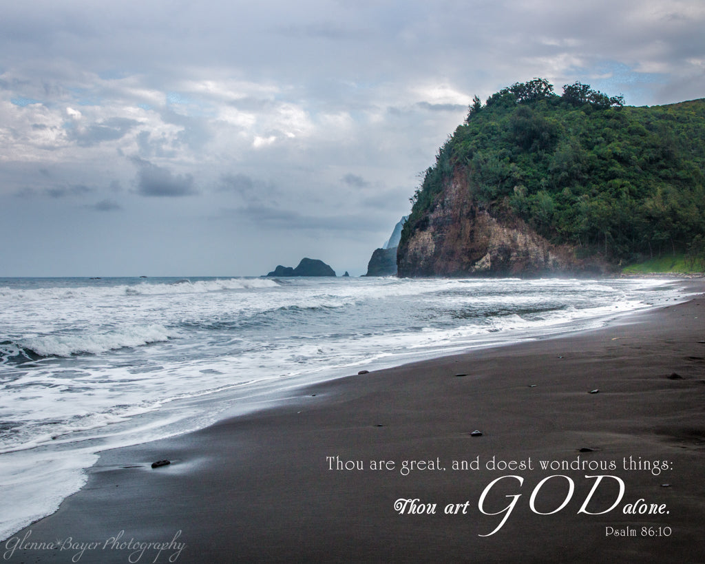 Hawaii Black Beach with scripture verse