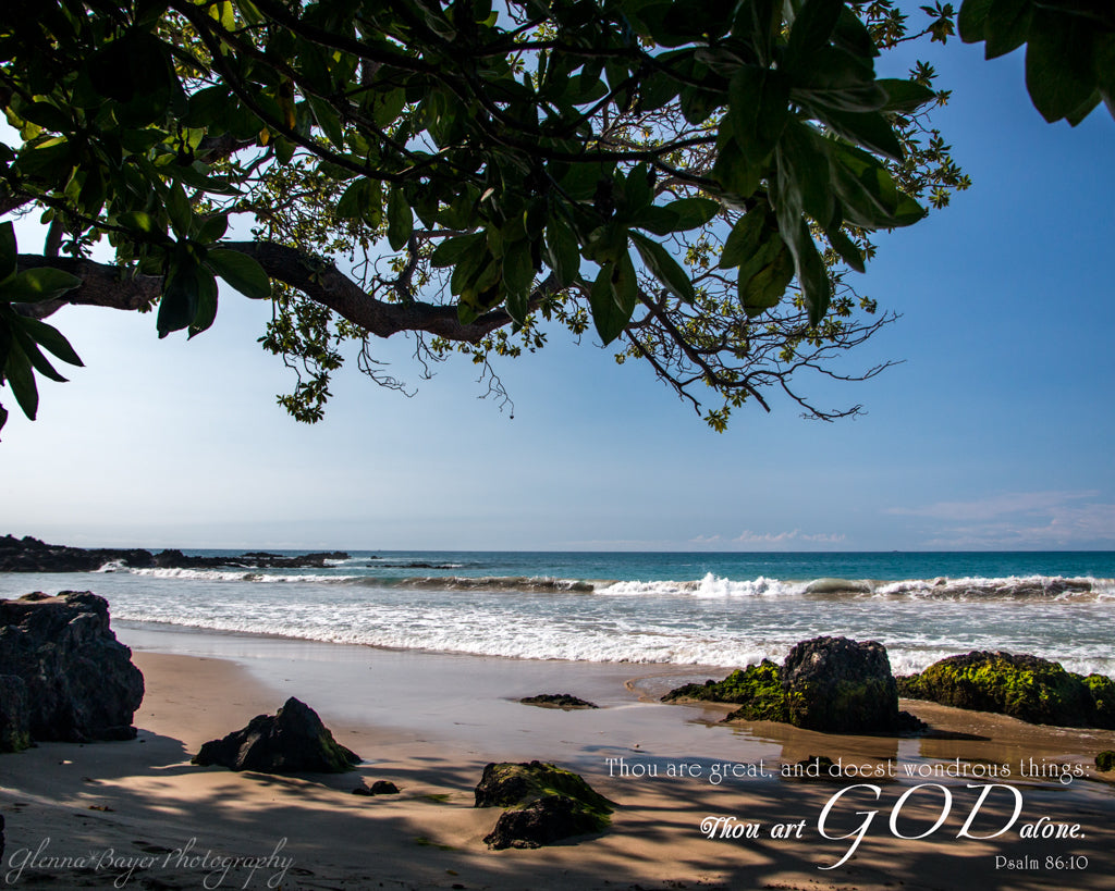 Hawaii rocky beach and ocean with scripture verse