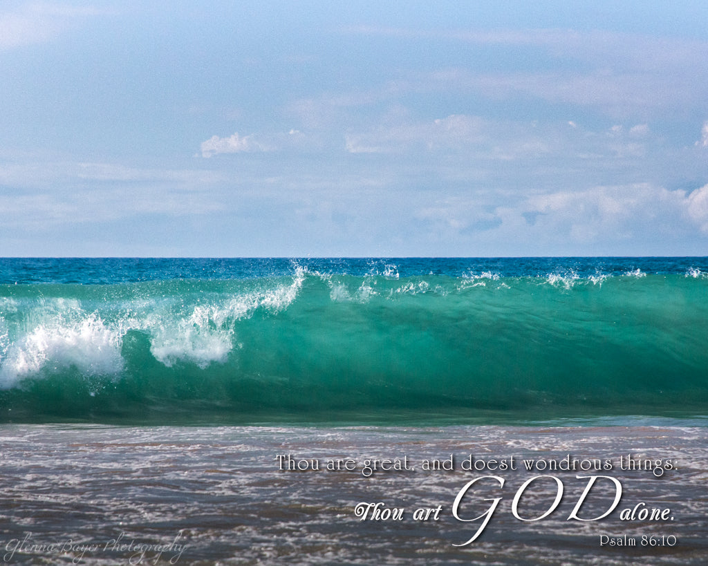 Hawaiian ocean wave with scripture verse