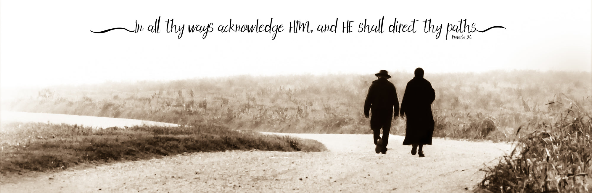 Amish couple walking down road with scripture verse