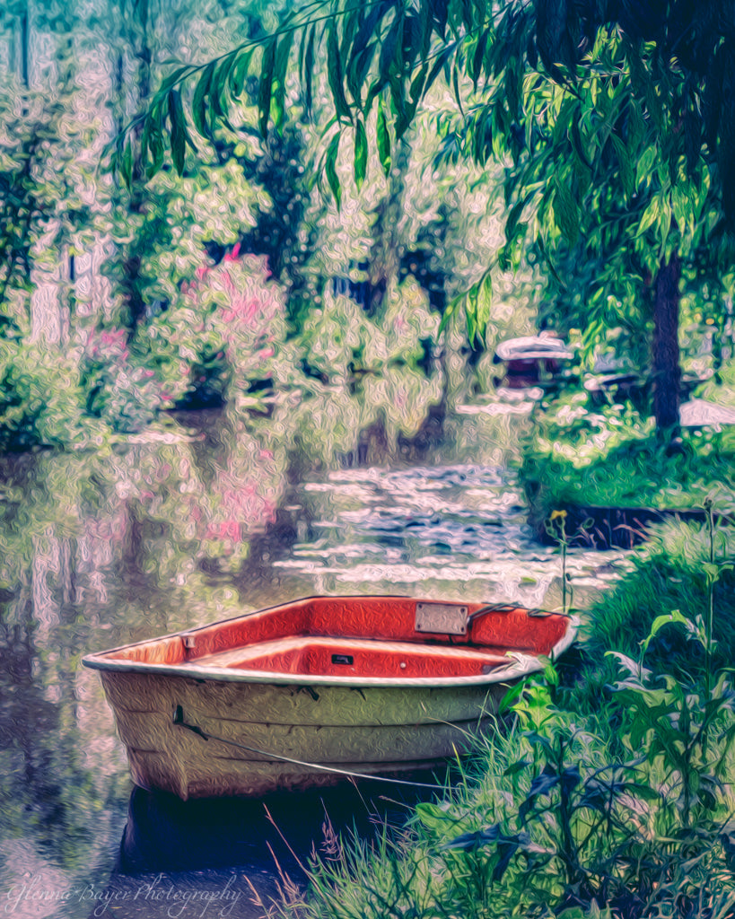 Red and White Rowboat in Holland Pond