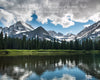 Lake Josephine at Glacier National Park, Snowy Mountains, Summer, Reflection, Clouds, Evergreen Trees, Blue, Green, Inspirational, Bible Verse, Psalms 91